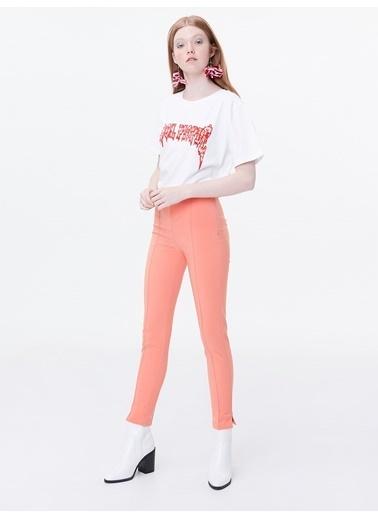 Twist Dikiş Geçişli Yüksek Bel Pantolon Mercan